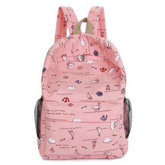 Korean-style tide models small fresh canvas bag High School Students Women shoulder bag College Wind travel bag casual computer backpack (Pink)