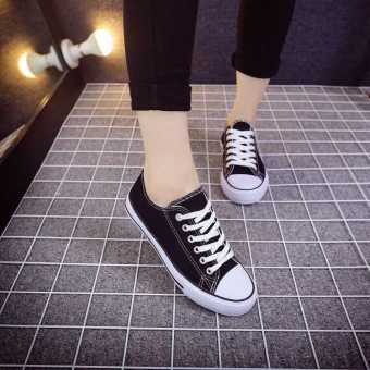 Korean-style white female student lace shoes flat canvas shoes (209 black)