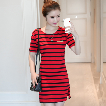 Korean-style women loose in the long section striped dress (5831 red)