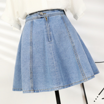 Korean-style word skirt high-waisted denim dress (Light blue)