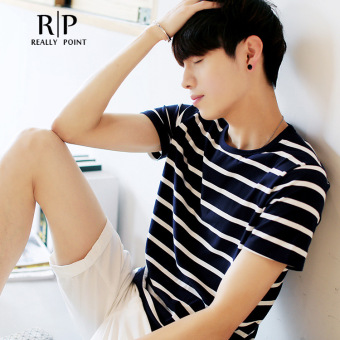 Korean version of the trend of black and white striped t-shirt compassionate men short sleeve zebra striped shirt bottoming summer students social guy