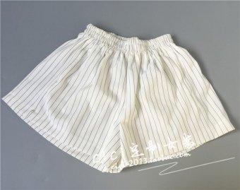 Korean version was thin vertical stripes loose wide leg pants casual pants big yards ladies shorts black and white elastic waist pocket (White)