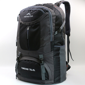 L large capacity men and women backpack (75 liters-black and gray) (75 liters-black and gray)