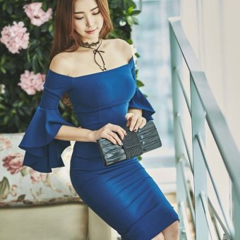 Ladies women dress New style word collar sleeve Slim fit sexy (Blue)