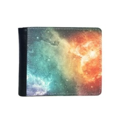 large red nebula adjacent with small blue nebula pattern flip bifold faux leather wallet multi