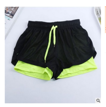 Lined with female running anti-Three pants sports shorts (Green)