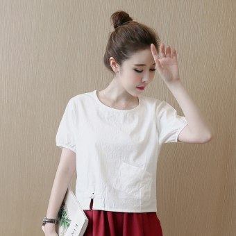 Linen New style short-sleeved loose shirt T-shirt (White)