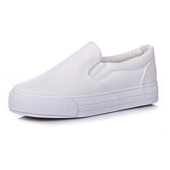 Loafers Korean-style female thick bottomed low top canvas shoes loafers (White) (White)