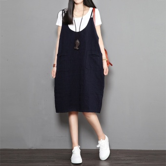 LOOESN artistic cotton linen Female Summer skirt dress (Dark blue color)