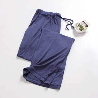 LOOESN casual cotton thin morning pants pajamas (Denim blue)