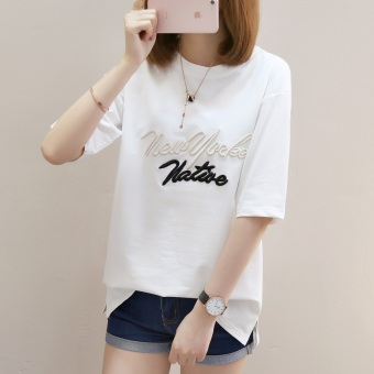 LOOESN casual embroidered female student Short sleeve Top T-shirt (735 (white))
