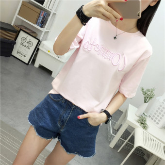 LOOESN casual embroidered female student short sleeved Top T-shirt (Pink)