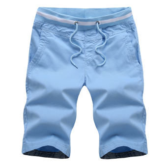 LOOESN casual men summer Plus-sized shorts (Light blue)