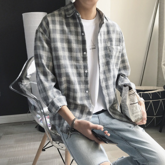 LOOESN Japanese-style brushed plaid long-sleeved shirt couple's jacket (902-gray)