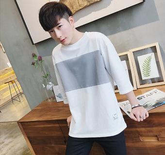 LOOESN Japanese-style men's short sleeve Teenager student T-shirt (White)