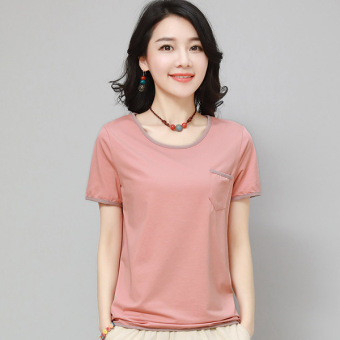 LOOESN Korean-style female New style Short sleeve female Top T-shirt (Pink)