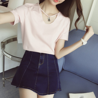 LOOESN Korean-style Female Summer New style white Top black short sleeved t-shirt (Pink)