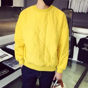 LOOESN Korean-style hooded student autumn long-sleeved jacket men's hoodie (Quilted hoodie yellow)