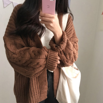 LOOESN Korean-style New style thick sweater cardigan twist sweater (Brown)