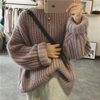 LOOESN Korean-style pullover long-sleeved pullover sweater (Apricot pink)