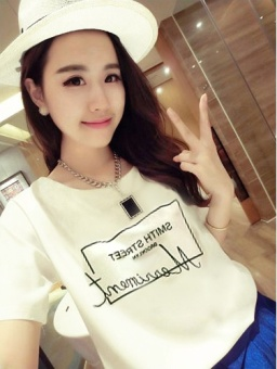 LOOESN Korean-style short sleeved t-shirt New style Female Summer (White [861])
