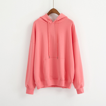 LOOESN Korean-style solid New style basic hooded hoodie (Watermelon Red)