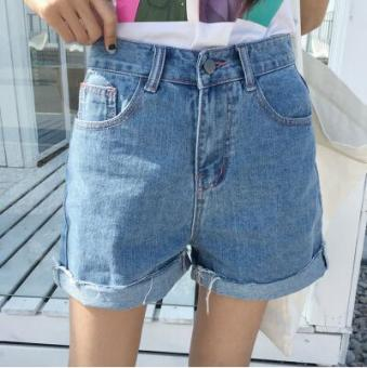 LOOESN Korean-style spring female New style pants cowboy shorts (2037 blue)