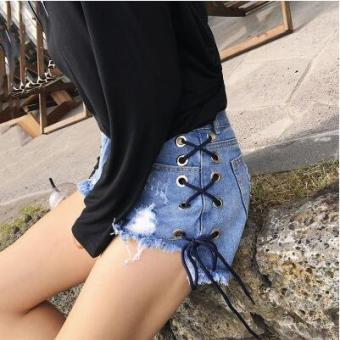 LOOESN Korean-style spring female New style pants cowboy shorts (926 blue)