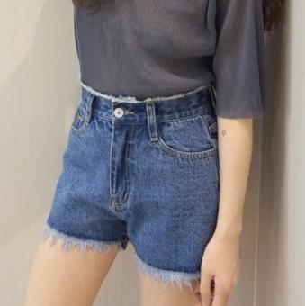 LOOESN Korean-style spring female New style pants cowboy shorts (9711 blue)