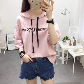 LOOESN Korean-style women's short sleeved slimming style Top casual hooded T-shirt (Pink hooded embroidered se)