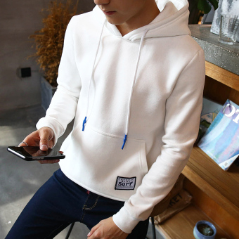 LOOESN men's autumn pullover hoodie hooded shirt (Y19 models white)