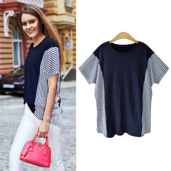 LOOESN New style Plus-sized Striped short sleeved t-shirt base shirt (Dark blue color)