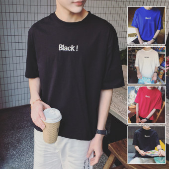 LOOESN summer round neck short sleeved t-shirt (Black)