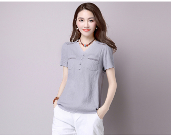 Loose artistic cotton linen summer Plus-sized versatile shirt T-shirt (Gray) (Gray)