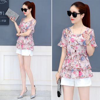Loose chiffon shirt New style slimming short sleeved Female Summer (Pink)