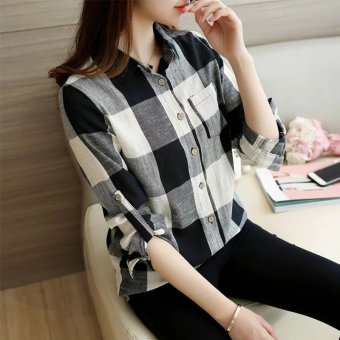 Loose cotton linen New style plaid shirt (Black plaid) (Black plaid)