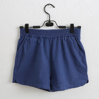 Loose home linen outerwear elastic waist shorts cotton linen casual shorts (Dark blue color) (Dark blue color)