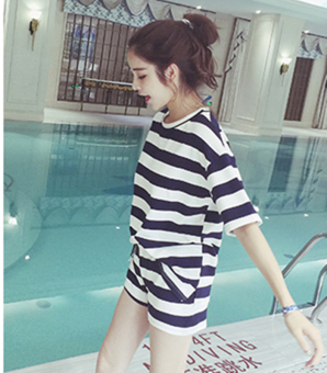 Loose Korean female student Short sleeve Top Striped short sleeved t-shirt (Black [Top + pants two-piece sets]) (Black [Top + pants two-piece sets])