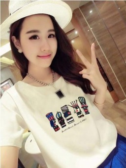 Loose Korean-style female slimming round neck Top pure white short sleeved t-shirt (325 white) (325 white)