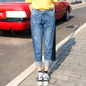 Loose Korean-style New style high-waisted straight jeans