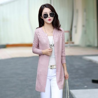 Loose New style mid-length knitted shirt (K8810 purple) (K8810 purple)