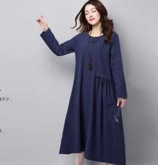 Loose retro cotton linen Plus-sized slimming dress Dress (Dark blue) (Dark blue)