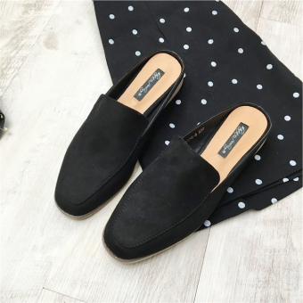 LR suede spring and summer matte square head peas shoes (Black)