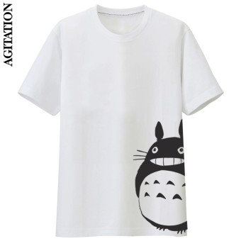 Men and women agitation round neck loose long cat T-shirt (White 3)(White 3)