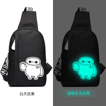 Men's chest pack Korean-style casual bag men messenger bag sports men and women shoulder bag men backpack bag Stylish man bag fashion (034 black luminous large white)