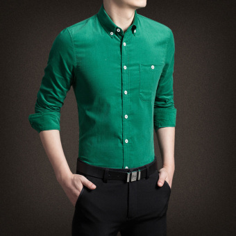 Men's Korean-style Business Slim Fit Long Sleeve Corduroy Solid Color Shirt (Green)