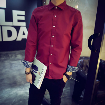 Men's Korean-style Slim Fit Long Sleeve White Solid Color Shirt (Wine red color)
