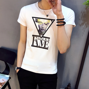 Men's round neck Short sleeve Korean-style short sleeved t-shirt (D702 white (collection of first shipment)) (D702 white (collection of first shipment))