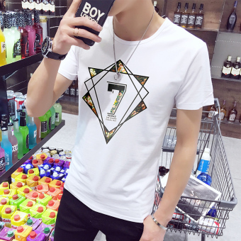 Men's round neck Short sleeve Korean-style short sleeved t-shirt (D705 white (collection of first shipment)) (D705 white (collection of first shipment))