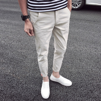 Men's spring and summer stretch casual pants (Off-white color)